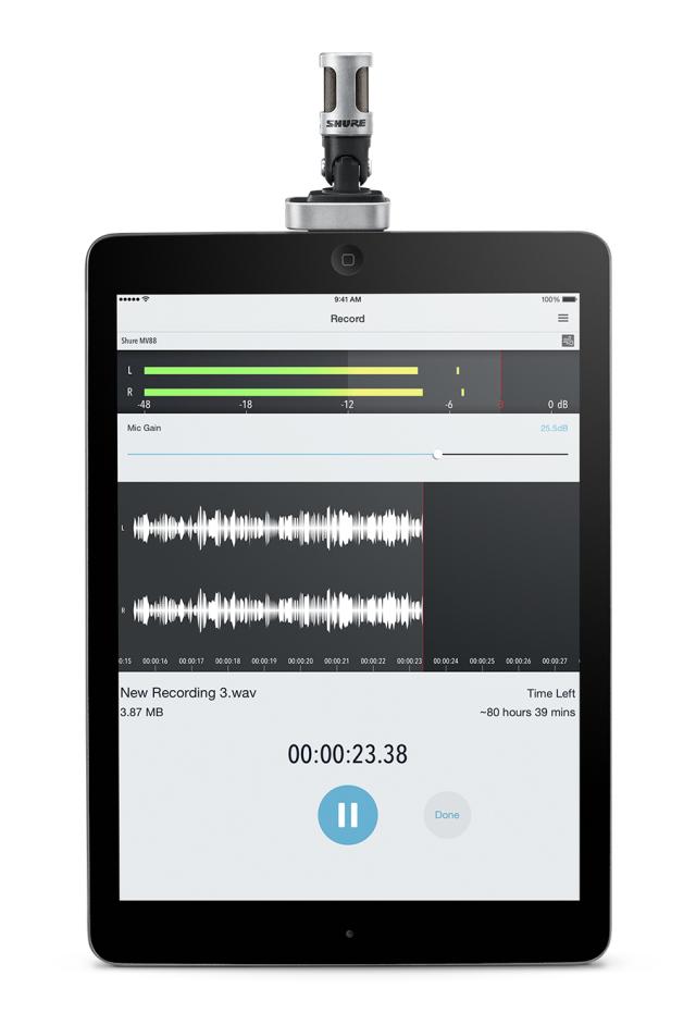 MV88 a gravar em App iPad.