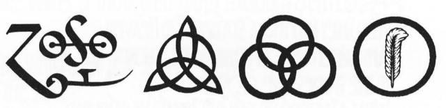 O símbolo de Page tem sido alvo de muita especulação (incluindo referências a magia negra) sobre o seu significado. John Paul Jones é representado pelo triqueta que, na sua simbologia mais simples, indica precisão e perfeição. Os anéis de Bonham representam uma ilusão: parecem idênticos, mas o seu encadeamento é impossível se os três forem círculos perfeitos e iguais. Virando o símbolo do avesso... é o logo de uma marca de cerveja! A pena dentro do círculo, de Plant, é baseada no símbolo da civilização de Mu.