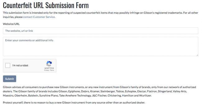 gibson formulario de denuncia