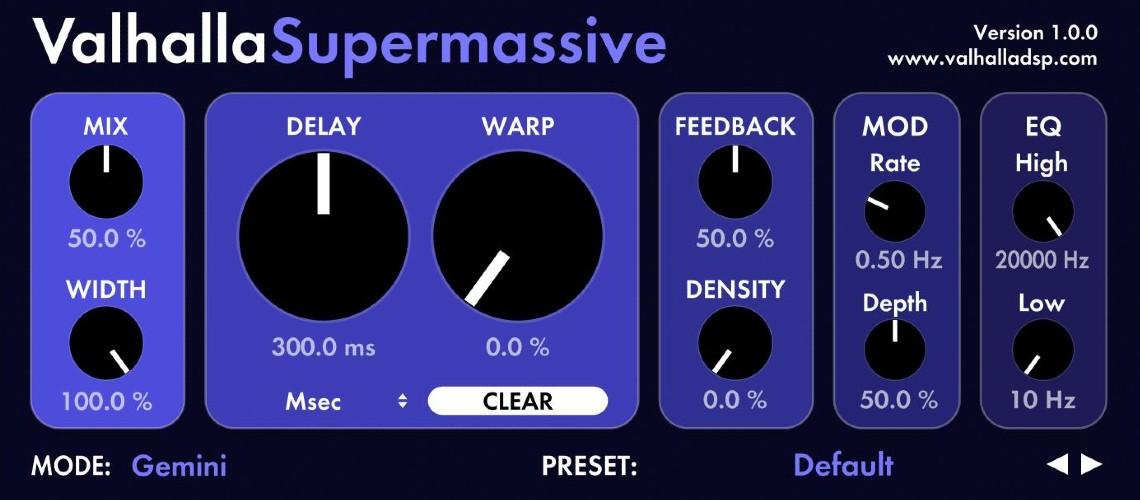 Valhalla Supermassive, Plugin Reverb/Delay Gratuito