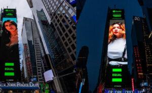 Bárbara Tinoco Sucede a Ana Moura Como Destaque do Enorme Póster da Times Square, NY